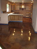 Glossy Floor Finish In Wooden Themed Kitchen