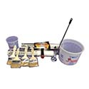 "Epoxy Floor Applicator Pack: 4 brushes, 2-18"" rollers, 1-18"" roller frame, 1-15"" mixing paddle, 2 quick measure containers"