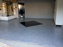 Epoxy Chip Floor Installation with Black Square