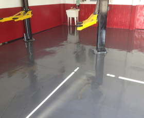 Commercial Epoxy Flooring Systems applied to auto repair