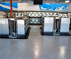 Commercial Epoxy Flooring Systems applied to laundry