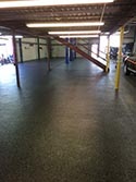 Roll On Rock Epoxy Flooring in Large Garage