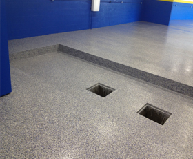 Garage Epoxy floor coating installed in a residential garage